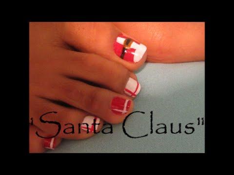 Decoración Navideña para las uñas de los pies \u0026quot;Inspiracion Santa Claus\u0026quot;/ Toe santa claus nail art