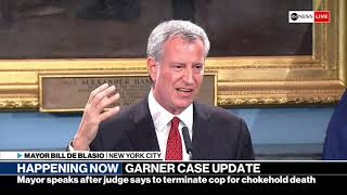 NYC Mayor de Blasio remarks after judge recommends NYPD officer fired in Eric Garner case | ABC News