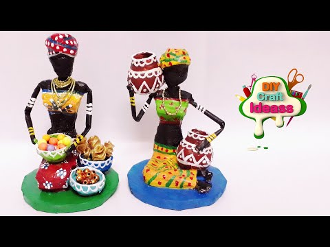 How to make doll from Newspaper and Tissue paper   African doll   diy craft ideas