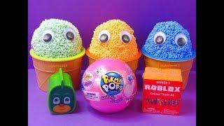 3 Mousse de jeu de couleur dans des tasses de crème glacée Surprise Toys PJ Masques Shopkins Roblox Pikmi Pops