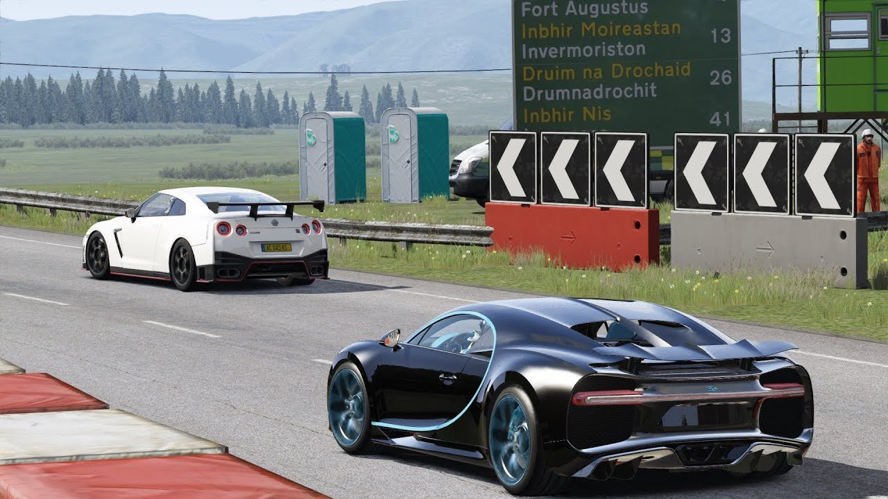 "1500 bhp nissan gt-r nismo ""boss"" vs bugatti chiron at highlands"