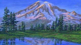 cara melukis gunung dan danau saat matahari terbenam menggunakan akrilik di atas kanvas