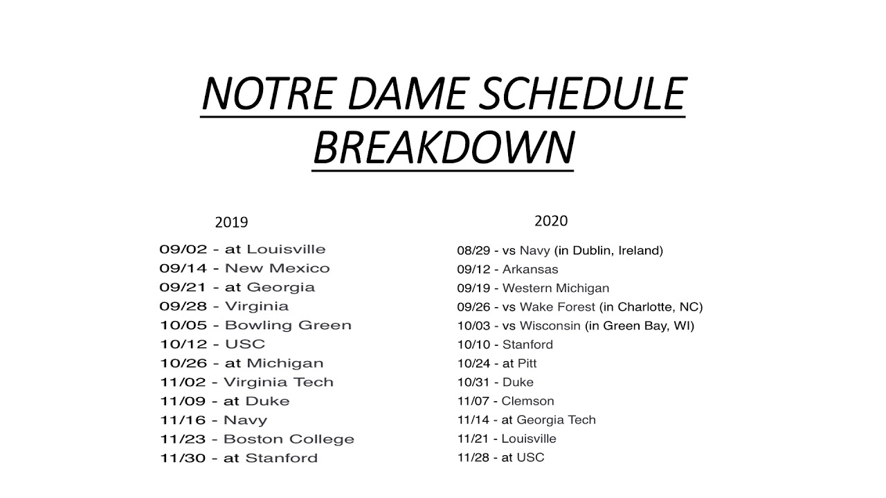 2020 Notre Dame Football Schedule.Notre Dame 2020 Football Schedule 2020 Notre Dame Football