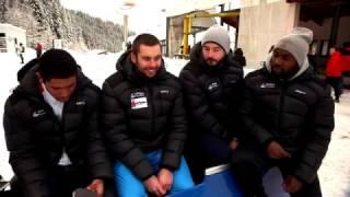 Bobeurs + Leçon de Bobsleigh ! Eurosport 19/02/2017 La Plagne