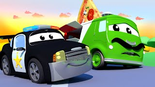 Carlo the PIZZAIOLO can't deliver his PIZZAS! - Car Patrol of Car City Fire Truck Police Car