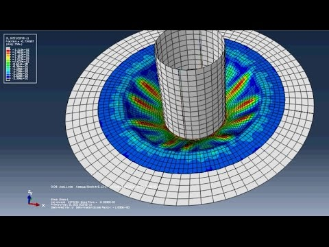 Abaqus tutorial - deep drawing: Aabqus tutorial - deep drawing  The material used  in  our deep drawing analysis  is  steel with isotropic  behavior. The initial position of the punch is taken as 10mm above the sheet. The Deep drawing speed used here is 1 m/sec. The friction between the sheet,  the punch and die interface is taken constant as 0.15.  The young modulus E is taken equal to 210GPa and the poisson's ratio v =0.3. The density is equal to 7800kg/m2.  A mass of 5 kg is attached to the blank holder, and a concentrated load of 10 kN, is applied to the contact surface blank/ holder, the blank holder is then allowed to move only in the vertical direction.  Based on the symmetry boundary conditions, only a quarter of the geometry is modeled  Mail :  cmed.engineering@gmail.com