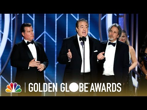 "The writers of ""Green Book"" accept the award for Best Screenplay - Motion Picture at the 76th Annual Golden Globe Awards."