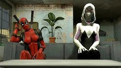 Spider Gwen and Girl Deadpool giantess growth (re uploaded)