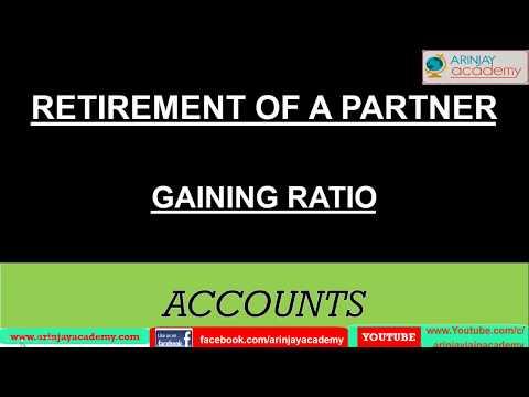 Calculation Of Gaining Ratio - Retirement Of A Partner - अभिलाभ अनुभाग की गणना - Accounts