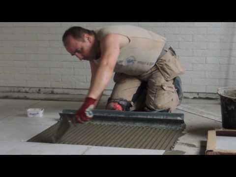 Укладка плитки на пол на 90 см гребёнку