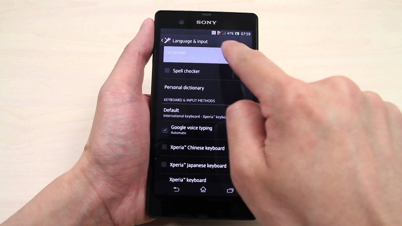 How to change the language on Sony Xperia Z