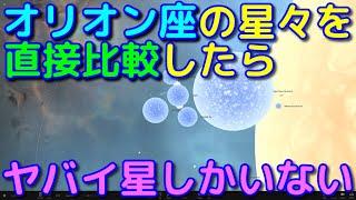 オリオン座の星々を直接比較してみた!