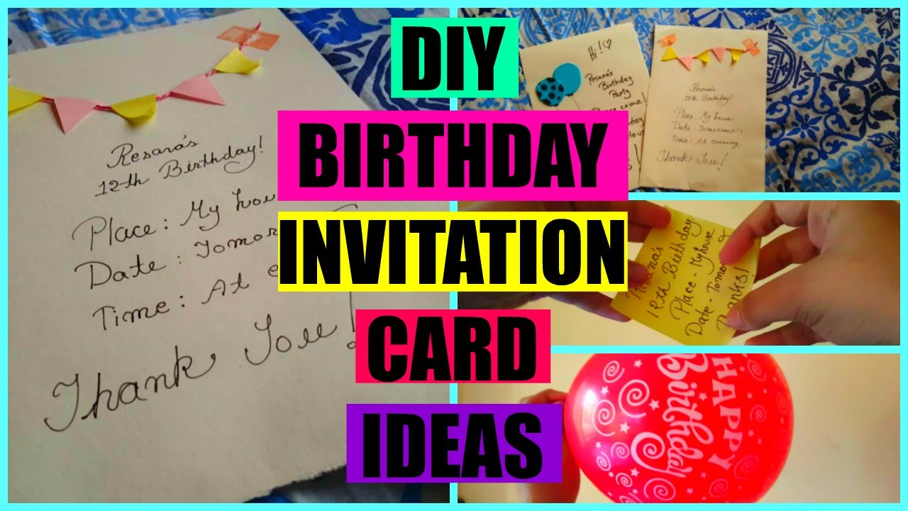 Diy birthday invitation card youtube filmwisefo