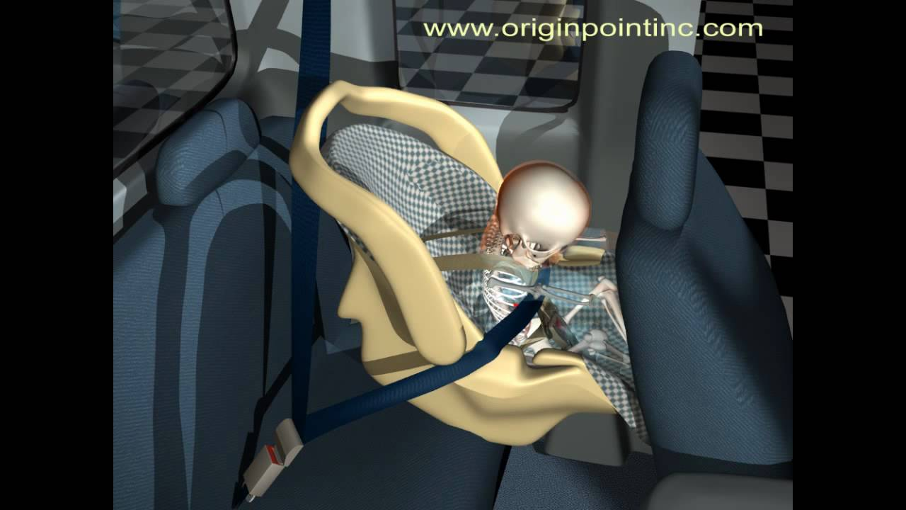 Computer Animation Of Baby And Infant Seat In Pickup Truck Accident