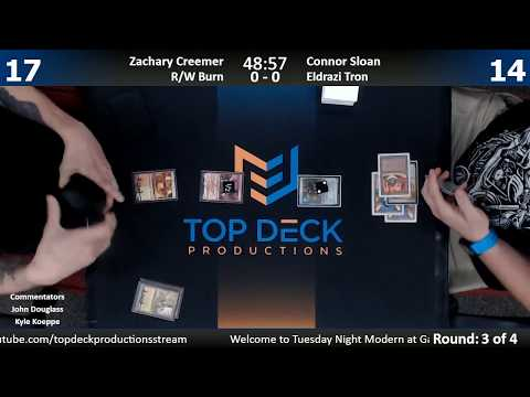 Modern w/ Commentary 10/3/17: Zachary Creemer (R/W Burn) vs. Connor Sloan (Eldrazi Tron)