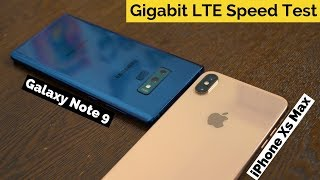 iPhone Xs Max vs Galaxy Note 9: Gigabit LTE Speed Test!