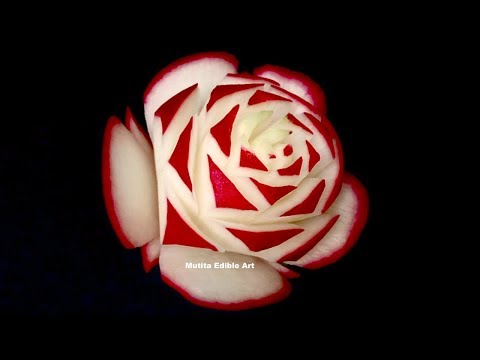Generate Awesome Red Rose Radish Flower - Beginners Lesson 30 By Mutita Art Of Fruit Vegetable Carving Pics