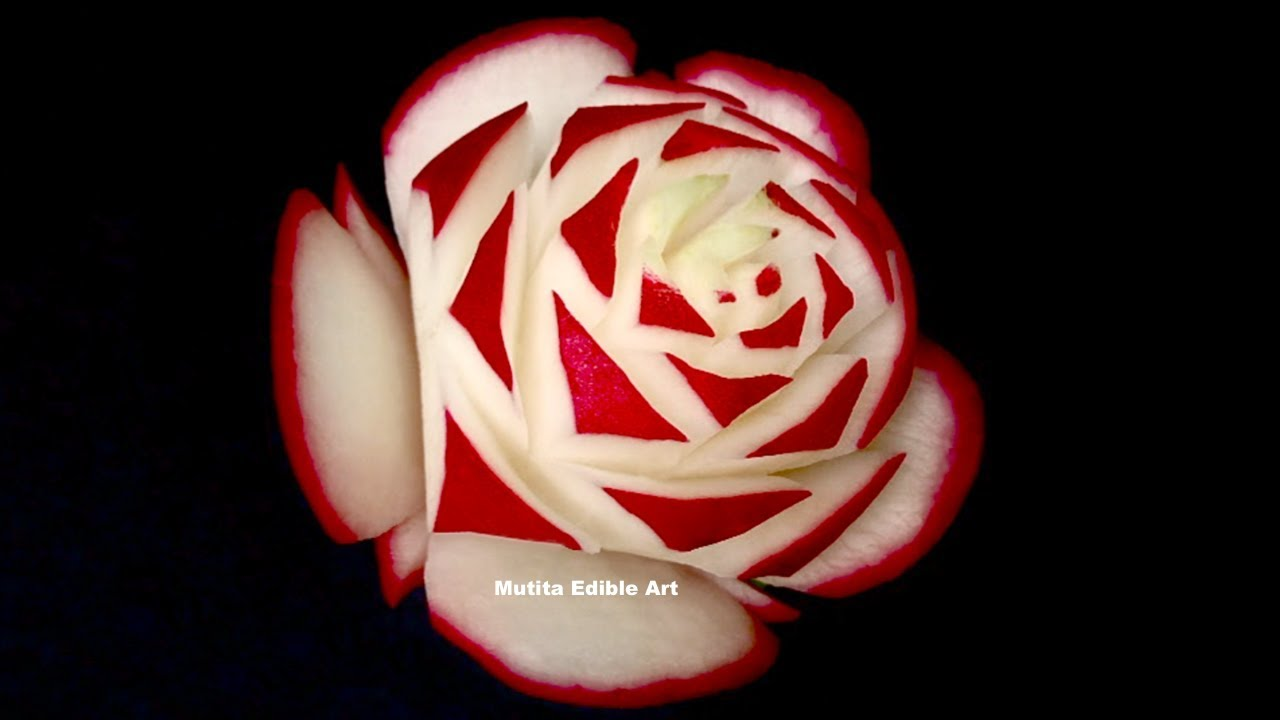 Awesome Red Rose Radish Flower Beginners Lesson 30 By Mutita Art Of Fruit Vegetable Carving