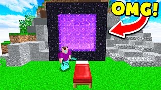 BUILDING A NETHER PORTAL IN MINECRAFT BED WARS! (Minecraft Trolling)