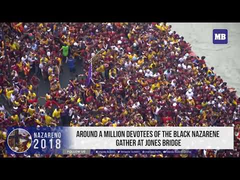 Around a million devotees of the Black Nazarene gather at Jones Bridge