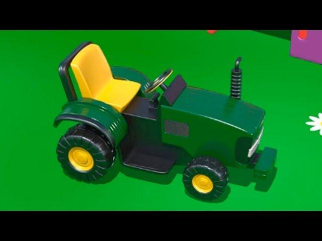 Мультфильмы про машинки - ТРАКТОР на детской площадке - учим цифры