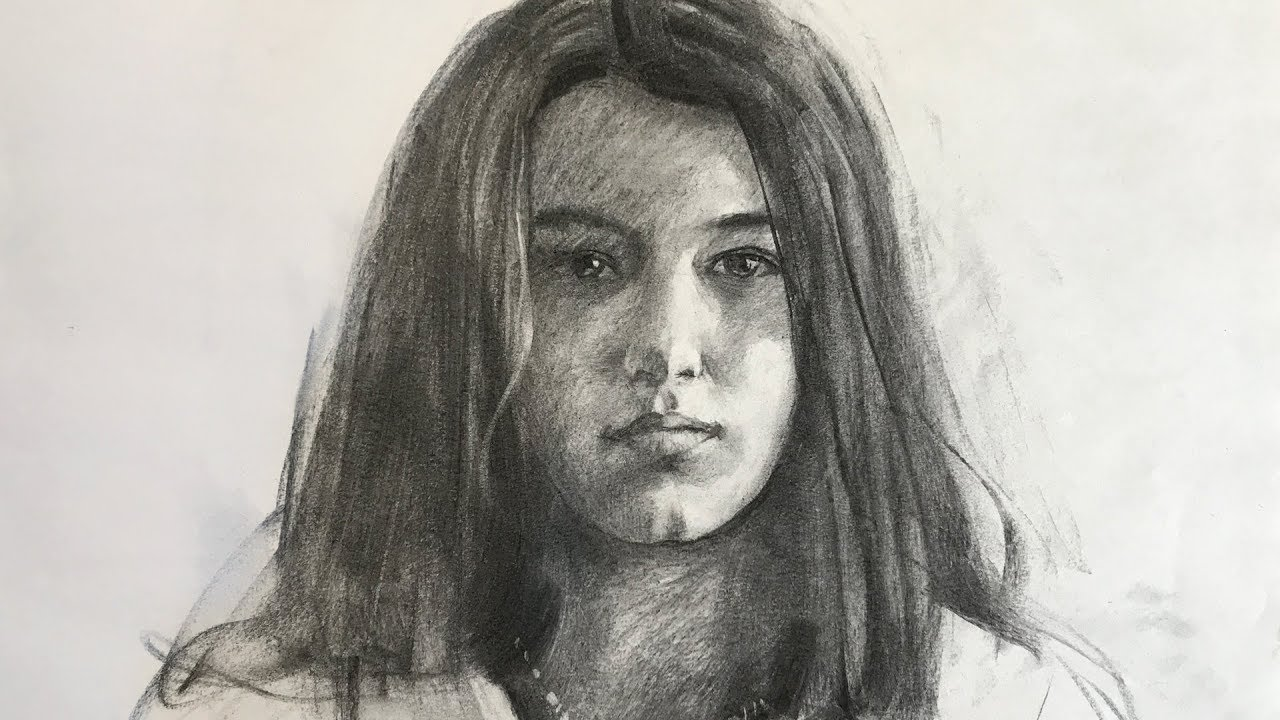 Portrait 91 drawing of girl from life with vine charcoal