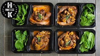 Meal Prep - Beef stroganoff, sweet potato and spinach.