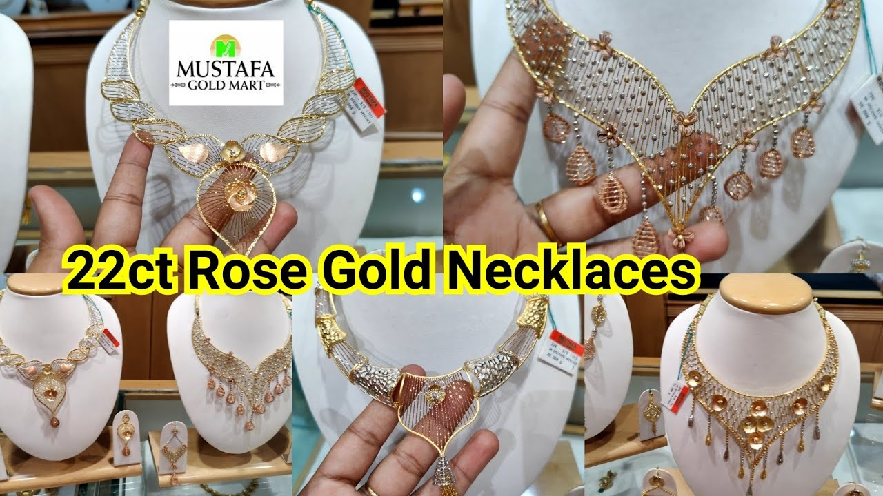 22ct Rose Gold Necklace Designs    Mustafa Gold Jewellery Collections