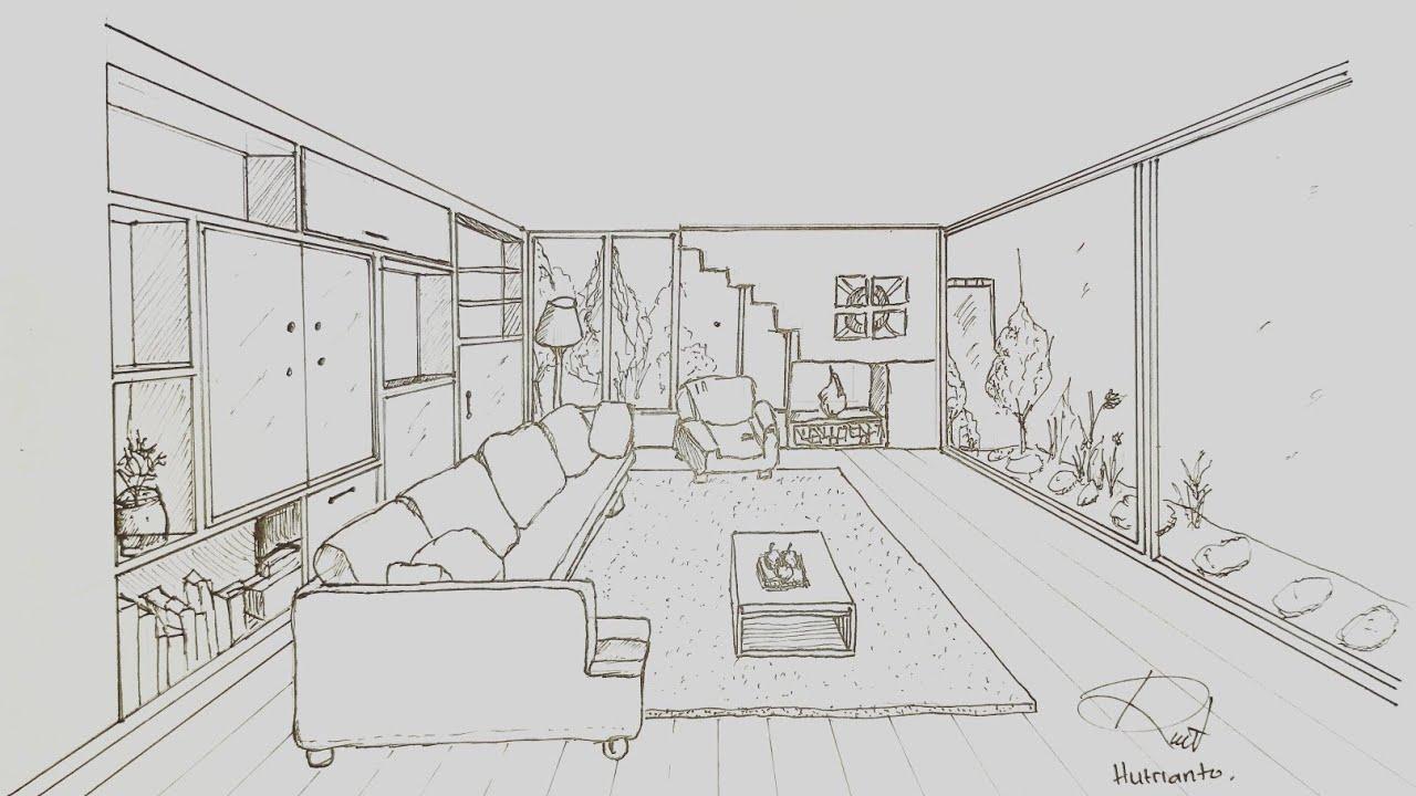 Arsitektur Cara Menggambar Ruang Tamu Dengan Perspektif 1 Titik Hilang Youtube