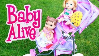 Baby Alive Dolls GO ON WALK Double Stroller CRAZY FUSSY Babies Toby Babysitter