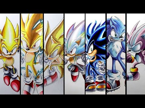 Drawing Sonic's Super Forms And Transformations - Compilation