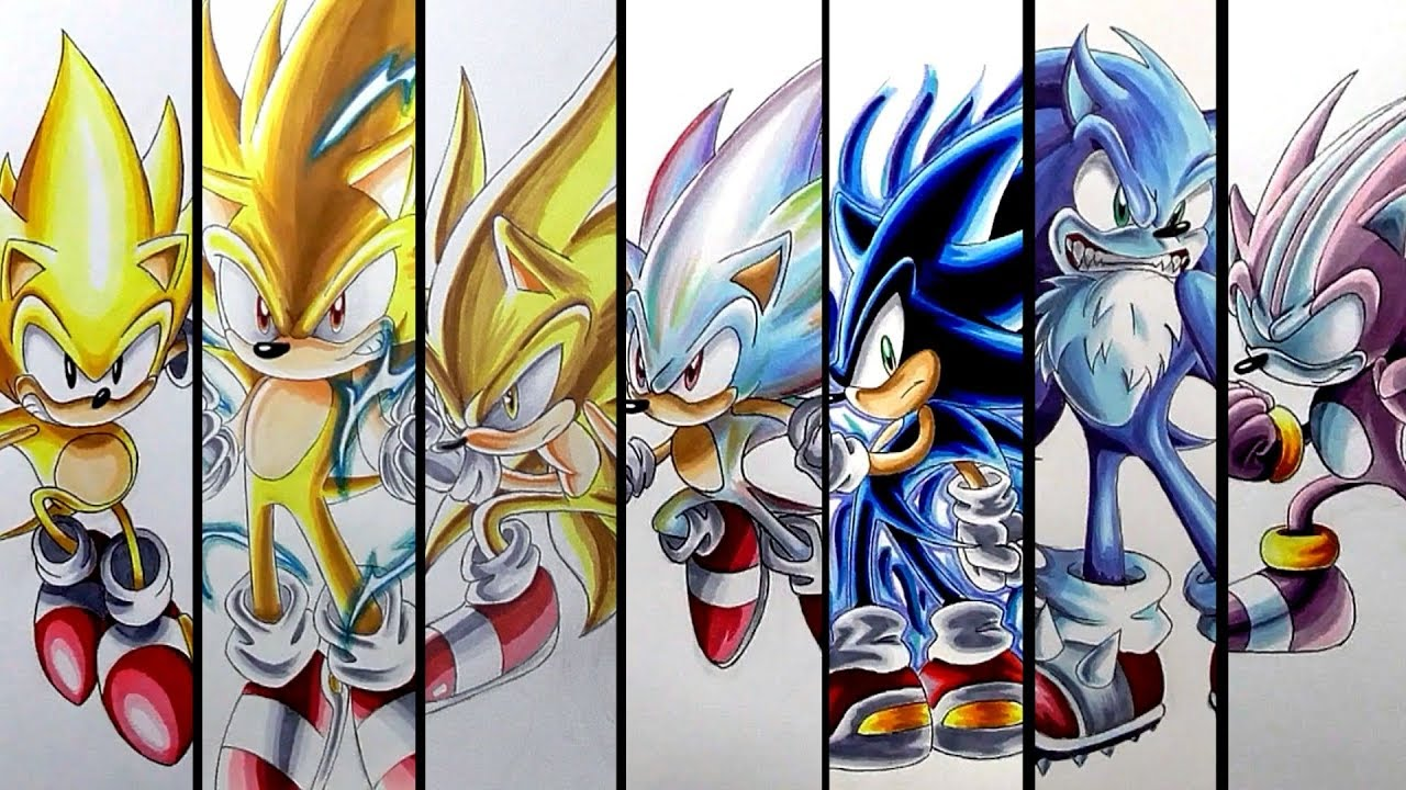 Drawing Sonic S Super Forms And Transformations Compilation Youtube