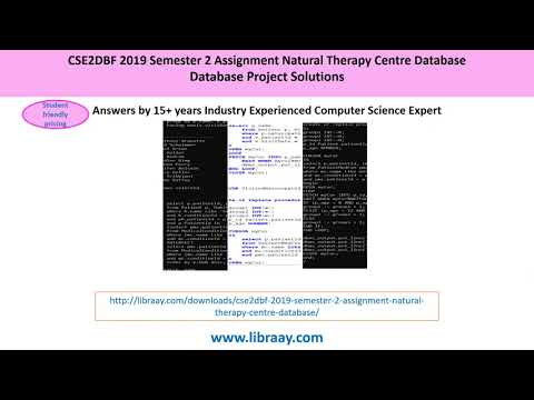 CSE2DBF 2019 Semester 2 Assignment Natural Therapy Centre Database