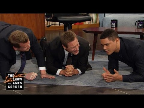 Aaron Eckhart, Trevor Noah & James Get Physical