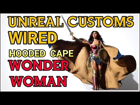UNREAL CUSTOM WIRED HOODED CAPE FOR HOT TOYS BvS WONDER WOMAN