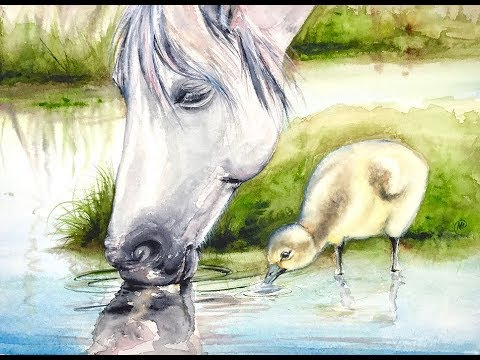 Watercolor White Horse Painting Demonstration - YouTube