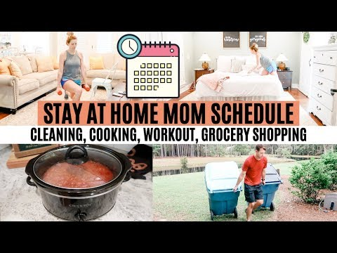 STAY AT HOME MOM SCHEDULE + ROUTINE // SPEND THE DAY WITH ME // CLEANING, COOKING, WORKOUT