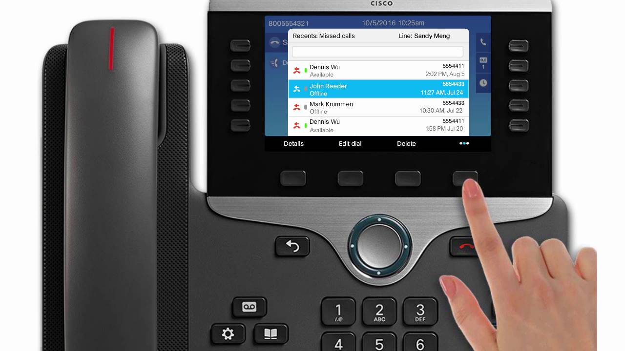 Background image 8851 - Cisco 8811 8851 8865 Manage Call History Including Missed Call List