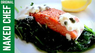 Healthy Salmon with spinach recipe with lemon & capers sauce
