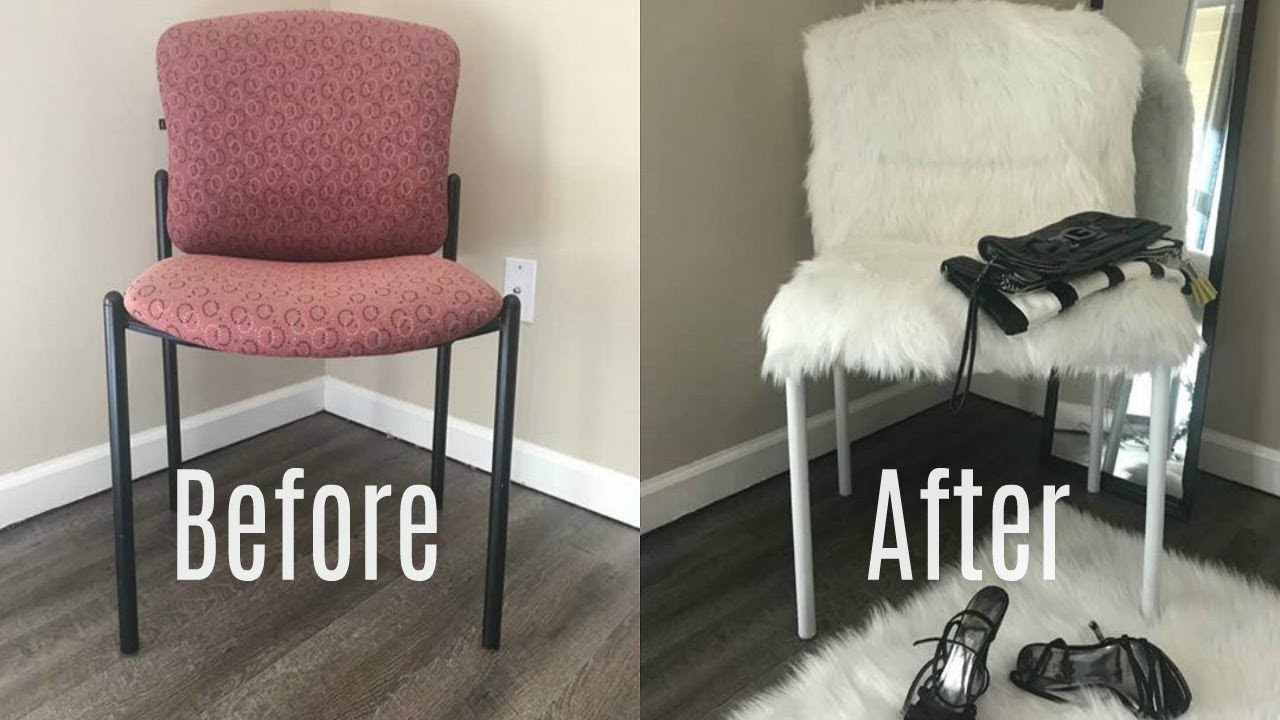 DIY FUR CHAIR UPCYCLE | $1 THRIFT STORE DIY - YouTube