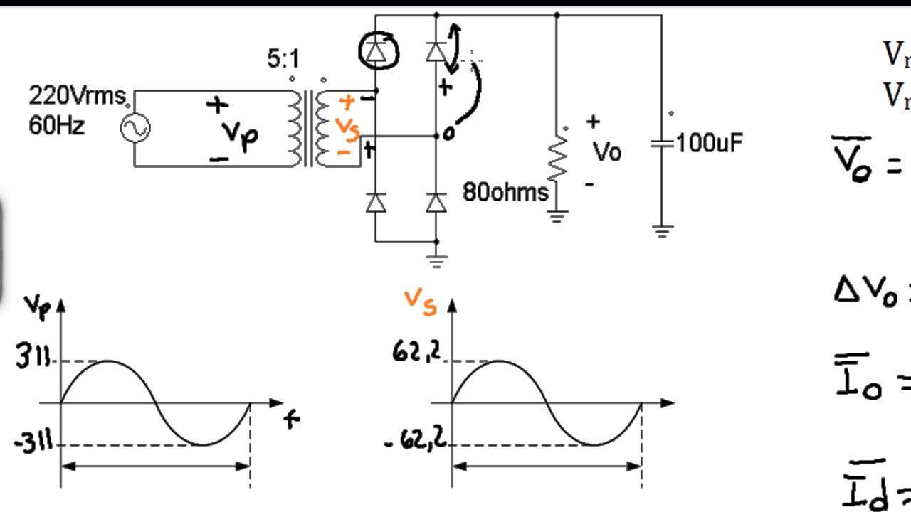 Circuito Retificador : Resolução exercício retificador de onda completa em