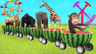 Watermelon Train Cartoon For Kids Outdoor Playground Amusement Park - Funny Monkey Videos