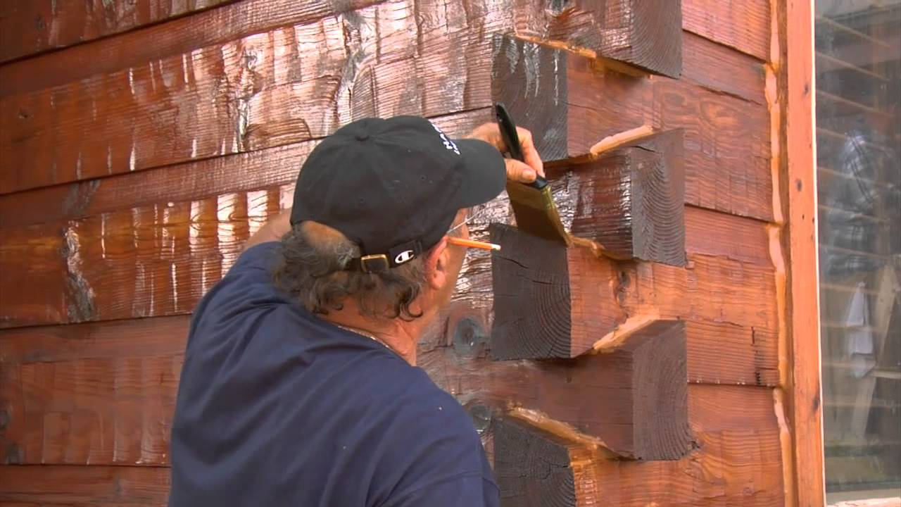 Twp exterior wood preservative staining your log home for How to stain log cabin