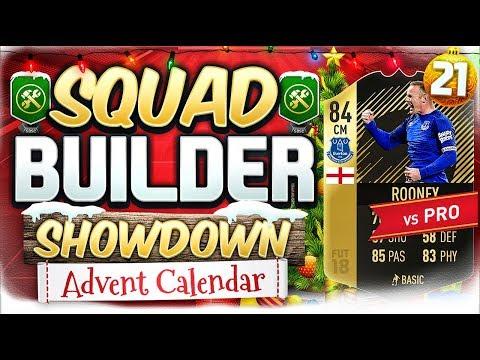 FIFA 18 SQUAD BUILDER SHOWDOWN!!! INFORM ROONEY VS A PRO!!! Advent Calendar Day 21 Vs HashtagHarry