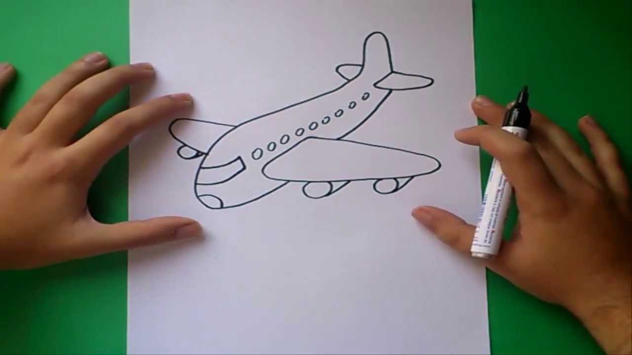 Como dibujar un avion paso a paso  How to draw a plane  YouTube
