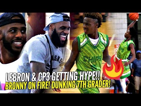 LeBron James & CP3 vs. Watching Bronny Jr. Catch Fire & Dunking on 7th Graders