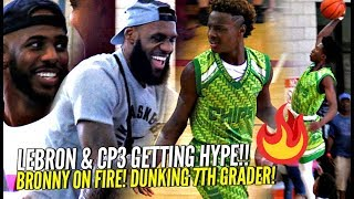 LeBron James & CP3 Watching Bronny Jr Catch Fire!! DUNKING 7th Grader Gets LeBron OUT HIS SEAT!!
