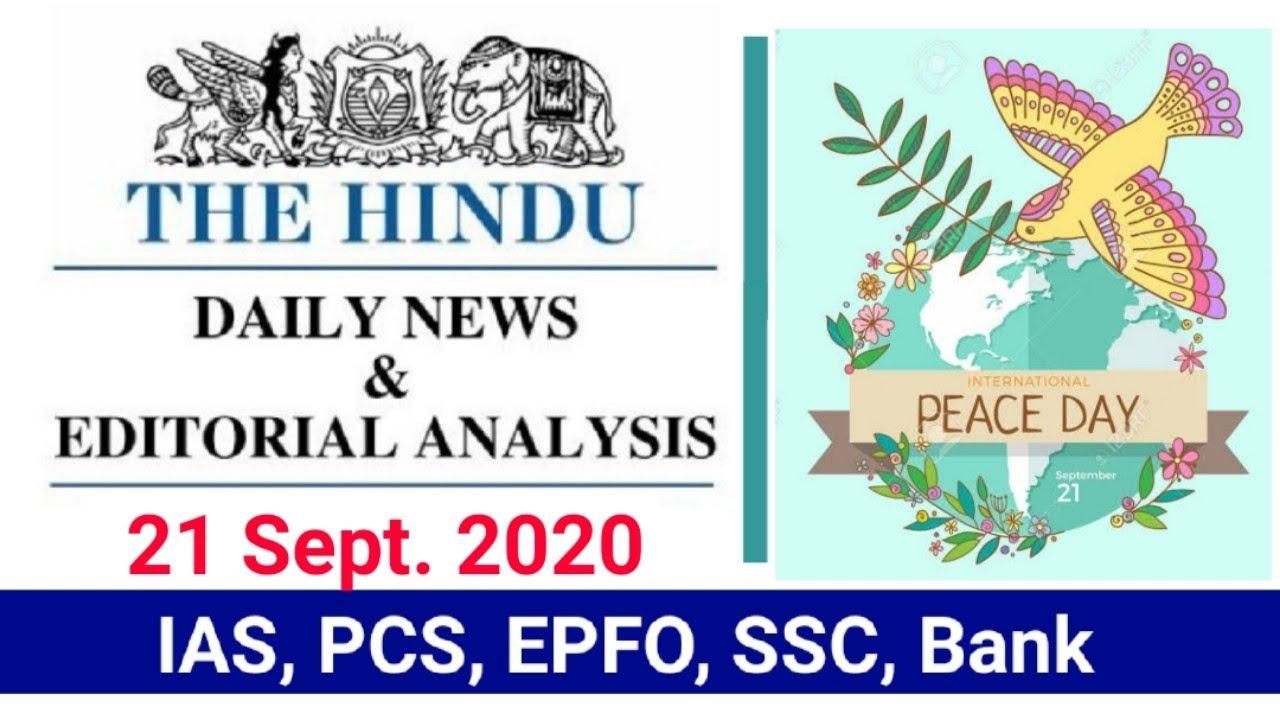 Download 21 September 2020 | The Hindu Newspaper Analysis |Currentaffairs2020|Today's the Hindu news analysis