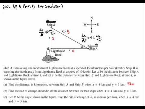 Related Rates FRQ 2002 AB 6 Form B - YouTube