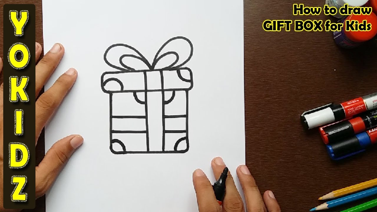 how to draw a gift box